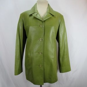 MLC Olive Green Leather Button Down Coat Jacket